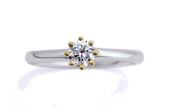 コンビ素材の8本爪婚約指輪