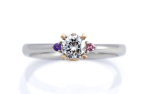 お二人のイニシャル&誕生石の婚約指輪