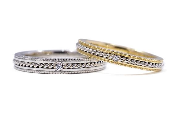 プラチナの手編みロープが二人を結ぶ結婚指輪 Adèle