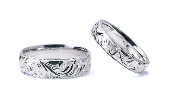 伝統の『永遠』模様を和彫りした結婚指輪 和唐草