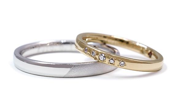 光沢感と星のようなダイヤが楽しい結婚指輪