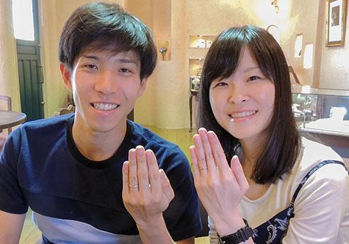 中村武・山田仁美様 (桜G/Pt リングいっぱいに彫刻が輝く結婚指輪)