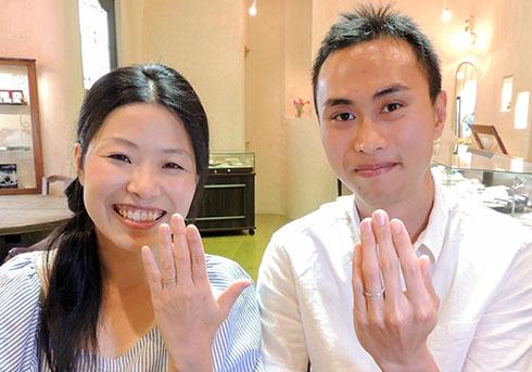 森章太郎・影山奈美様 (桜G/YG ロープとミル打ちの結婚指輪)