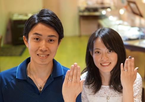 T様 (Pt ダイヤが流れるように輝く結婚指輪とセットリング)