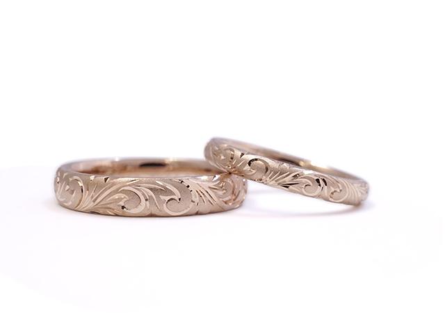 S様 (桜G 和唐草模様の手彫り結婚指輪)