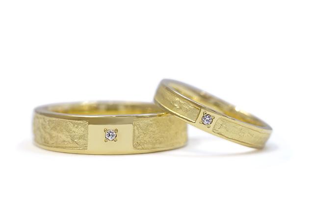 K様 (K18萌黄金 和紙とダイヤの結婚指輪)