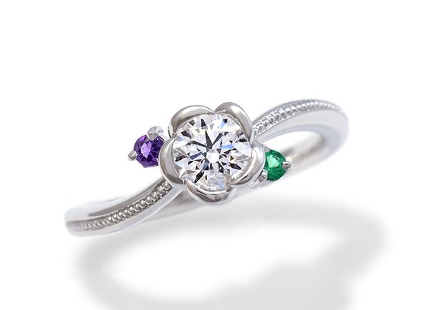 S様 (Pt 誕生石の花が咲くダイアモンド婚約指輪)