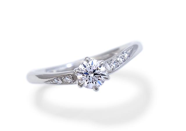 W様 (Pt お持ちのダイヤで作るVラインの婚約指輪)