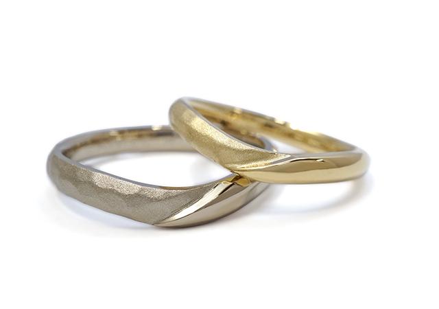 M様 (YG/CG つや消しハンマー模様の結婚指輪)