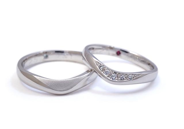 T様 (Pt ゆるやかなVラインの結婚指輪)