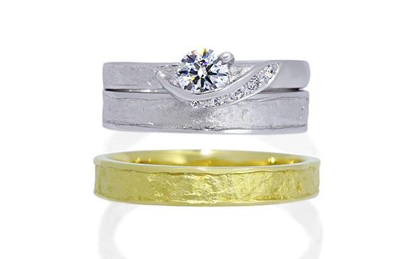 和紙の風合いを指輪にしたセットリング