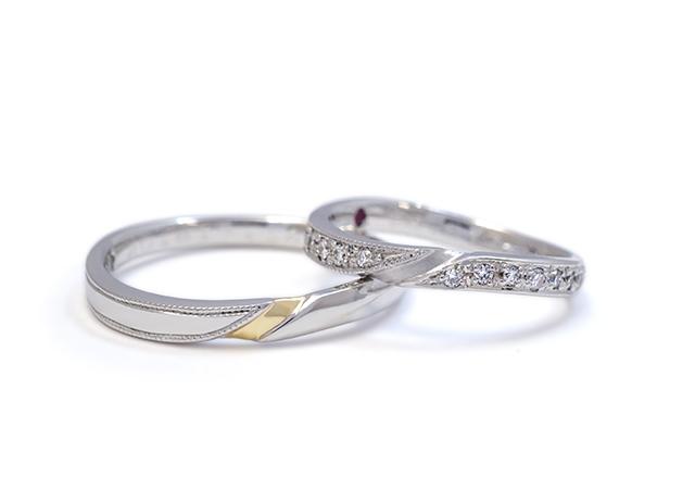 H様 (Pt ダイヤ&異素材のアシンメトリー結婚指輪)