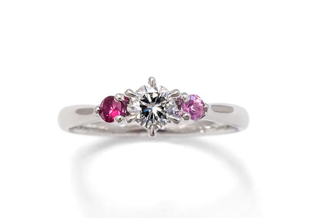 T様 (Pt 譲り受けたダイヤ&誕生石の婚約指輪)