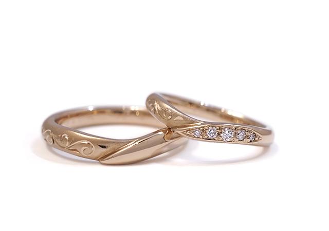 T様 (桜G ダイヤと彫刻の『花衣』結婚指輪)