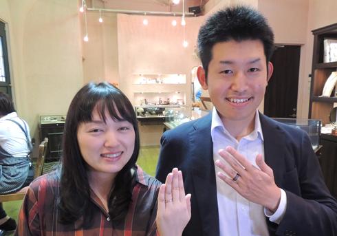 I様 (桜G/Pt 和紙と彫刻のこだわり結婚指輪)