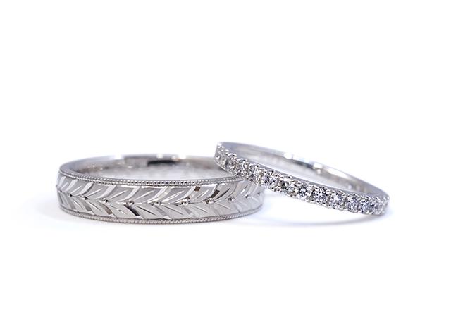 A様 (Pt エタニティと月桂樹の結婚指輪)