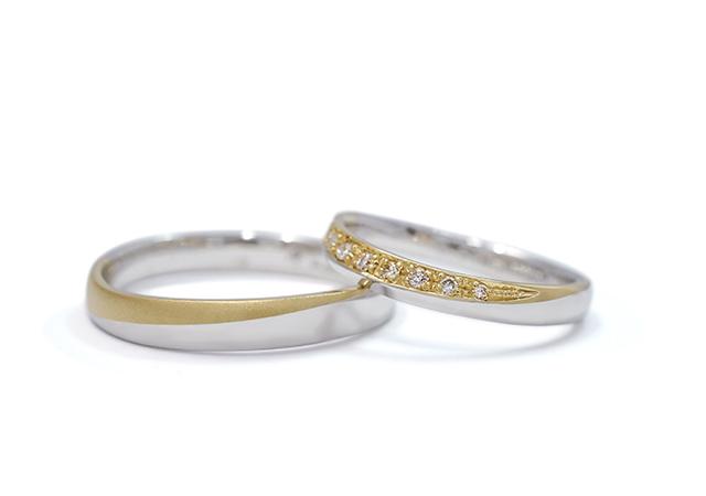 涼真様・由希恵様 (Pt/YG 三日月のように素材を組み合わせた結婚指輪)