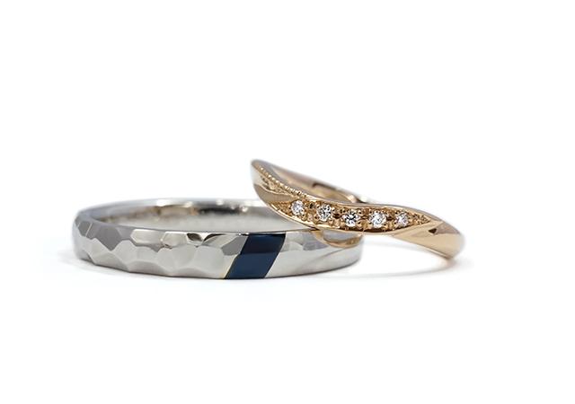 S様 (PG/Pt/赤銅 鎚目&赤銅と細身の結婚指輪)