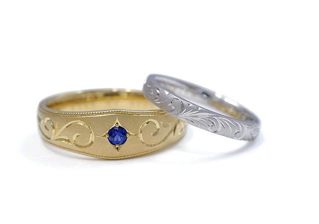 康介様・菜月様 (Pt/YG 彫刻とサファイアの結婚指輪)