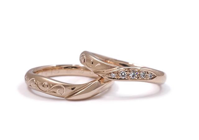 秀輔様・恵実様 (桜G 彫刻とダイヤが輝く結婚指輪)