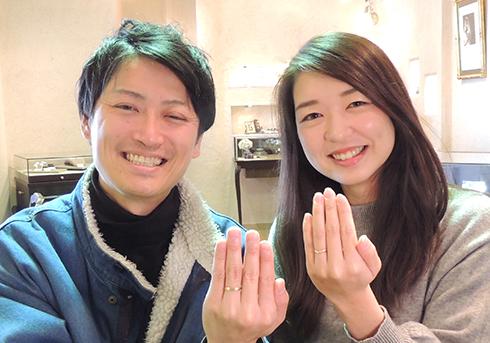 N様 (K18ライムG 黄緑が引き立つ結婚指輪)