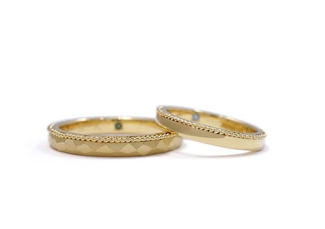 O様 (YG/YG 手編みロープとハンマー模様の結婚指輪)