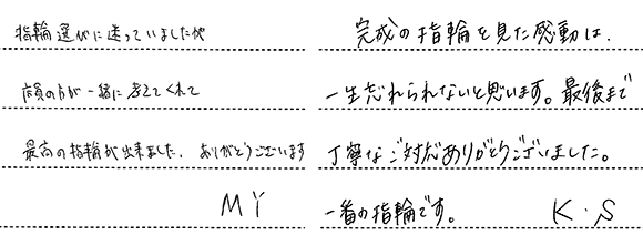Y様 (Pt ダイアモンドエンゲージリング)