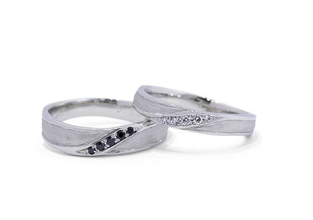 K様 (Pt 和紙とストーンの結婚指輪)
