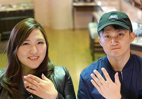 三戸様 (Pt/桜G ダイアモンドと彫刻の結婚指輪)
