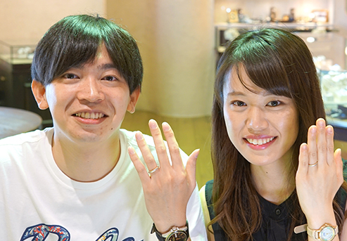 阿萬諒典・純美様 (YG/Pt ハンマー&ミル打ちの結婚指輪)