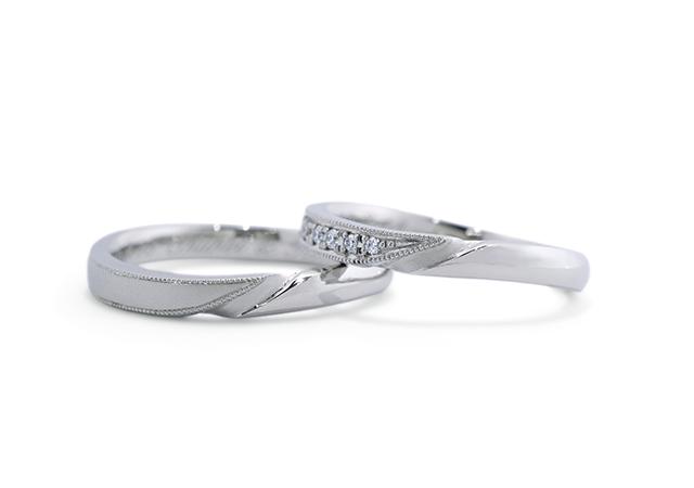 O様 (Pt ラウンド&スクエアの結婚指輪)