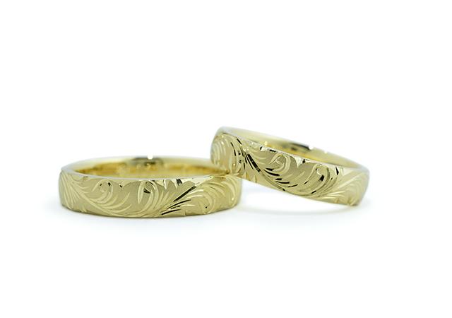 H&S様 (ライムG 華やかな彫刻の結婚指輪)