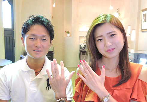 M様 (PG 和紙とダイヤの結婚指輪)