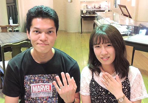 Y様 (Pt 細身で彫刻を施した結婚指輪)