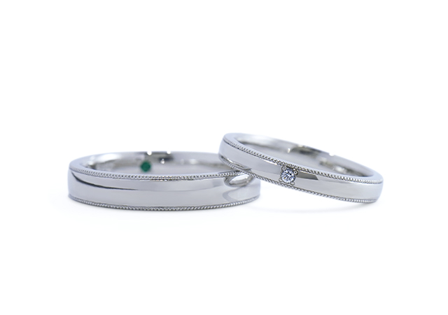 O様 (Pt ミル打ち&鏡面の結婚指輪)