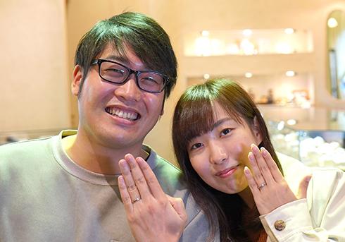 K様 (Pt 桜彫刻&誕生石の結婚指輪)