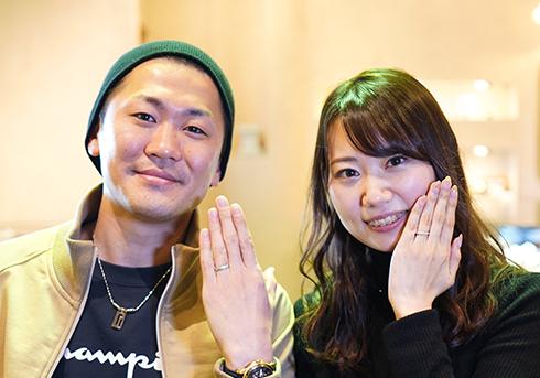 M様 (Pt ダイヤと彫刻のねじり結婚指輪)