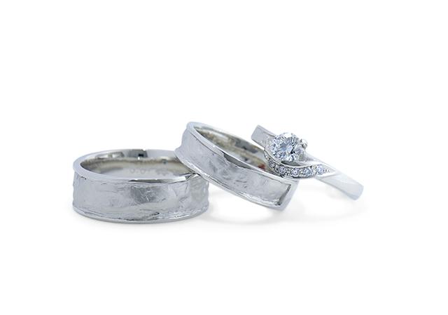 S様 (Pt 和紙とダイヤが印象的なセットリング 婚約指輪&結婚指輪)