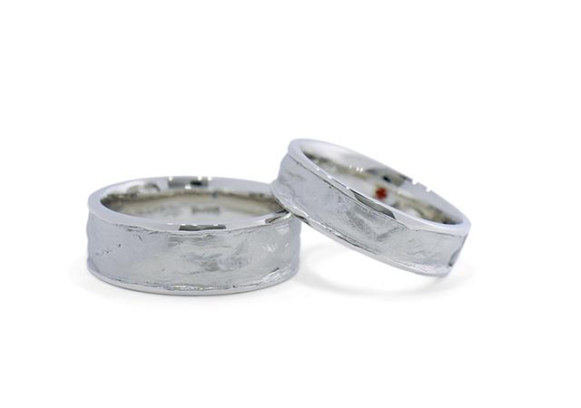 S様 (Pt 和紙の魅力をお楽しみいただけるセットリング 結婚指輪&婚約指輪)