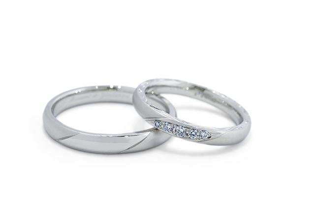 Y&M様 (Pt 2種類の仕上げとダイヤの結婚指輪)