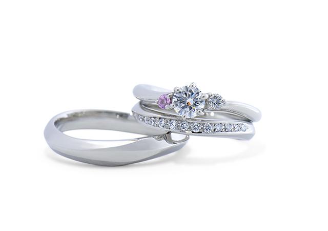 有賀大晃・永井有紗様 (Pt 優雅な曲線とダイヤの婚約指輪&結婚指輪)