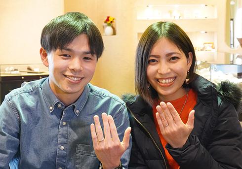 M様 (桜G 細身&甲丸の鍛造結婚指輪)