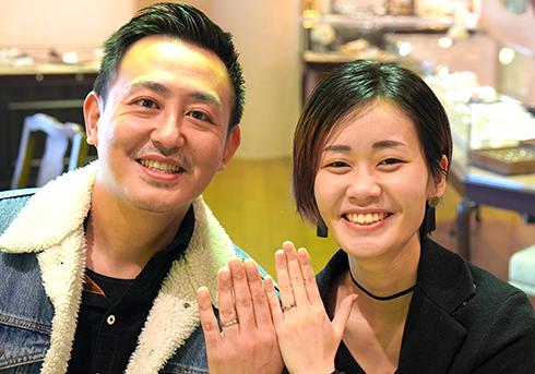 M様 (ライムG/NWG コンビ&側面彫刻の結婚指輪)