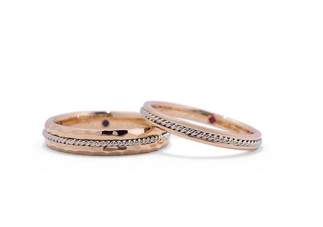 K&S様 (PG/Pt ロープと鎚目模様の結婚指輪)