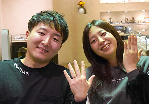 S様 (Pt/桜G ふたつの素材を使った結婚指輪)