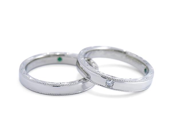 T様 (Pt ミル打ちと側面彫刻が輝く結婚指輪)