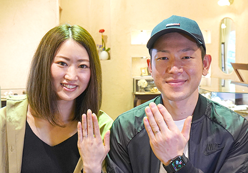 I様 (Pt/シャンパンG ダイヤとミル打ちの結婚指輪)