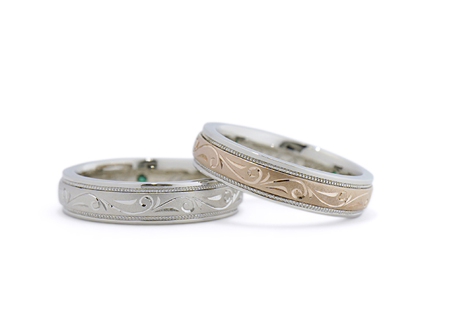A様 (Pt900/桜G 彫刻とミル打ちの結婚指輪)
