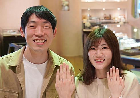 倉谷樹矢・熊岡志保様 (Pt 優雅な曲線とダイヤの結婚指輪)