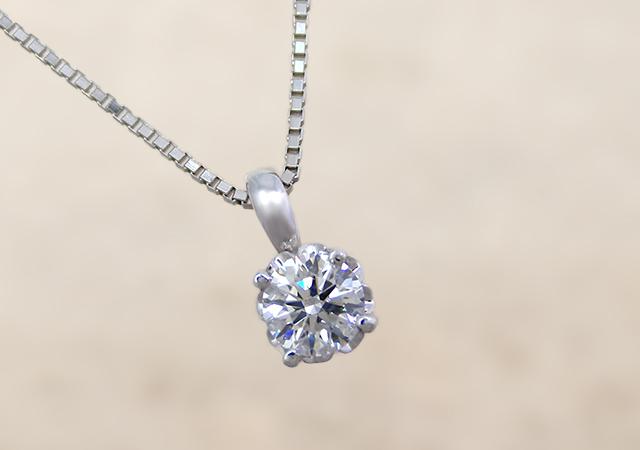 T様 (Pt 高品質ダイヤのシンプルネックレス)